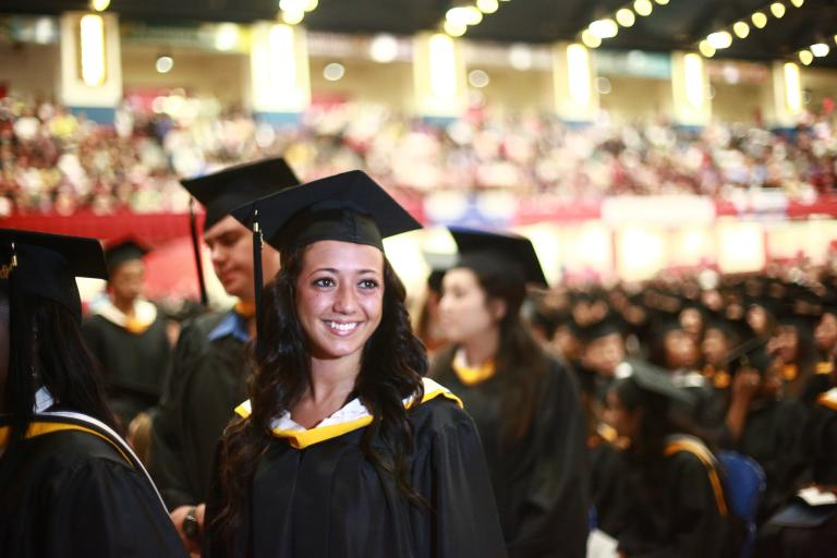 An Honors student at Commencement.