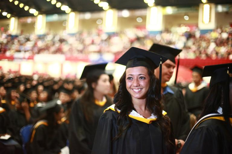 Honors student at Commencement.