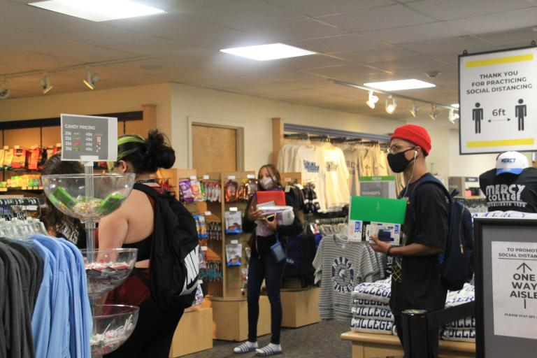 Students shopping at the Dobbs Ferry bookstore.