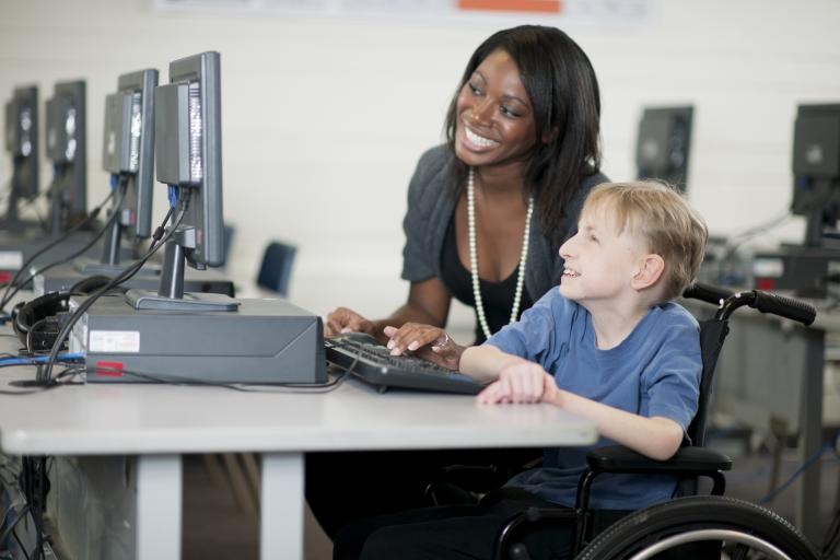 Teaching a student with disabilities.