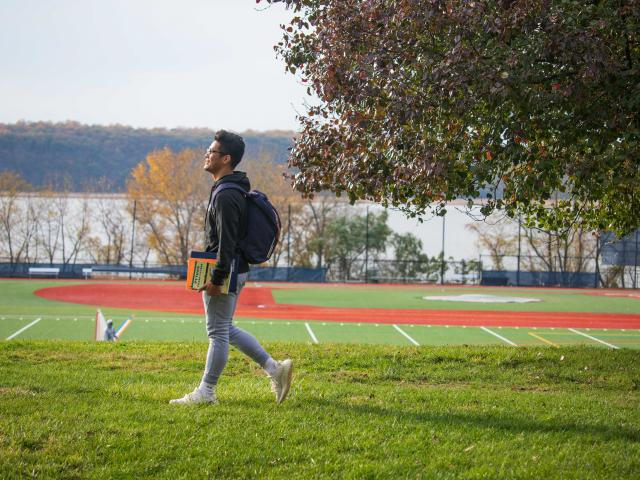 Student on Dobbs Ferry campus