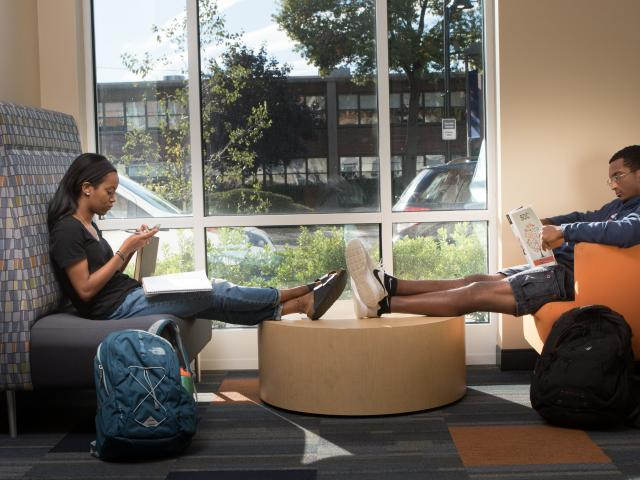 Students in lounge on Dobbs Ferry